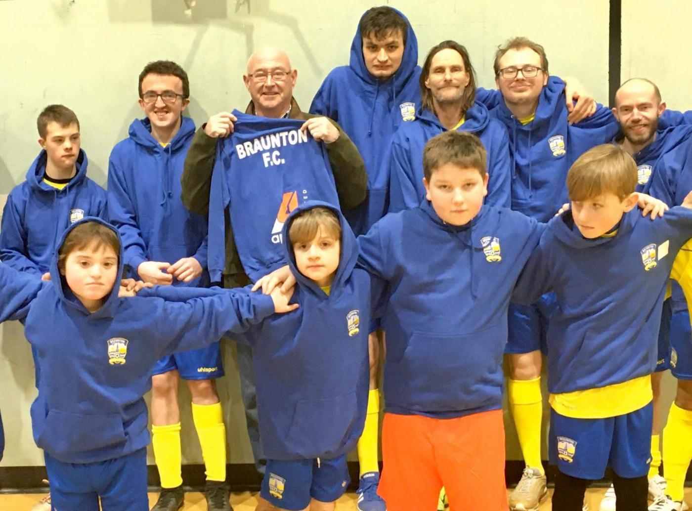 Braunton Football Ability with their hoodies